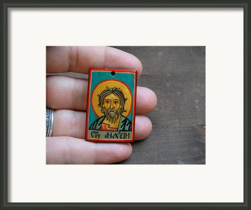 Hand Painted Miniature Icon Of Saint Andrew The Apostle Framed Print By Denise Clemencoicons