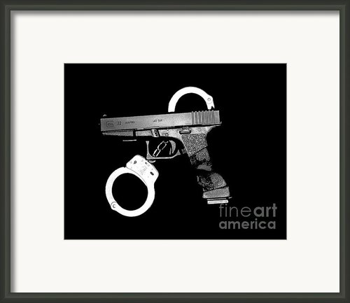 Handgun And Handcuffs Framed Print By Al Powell Photography Usa