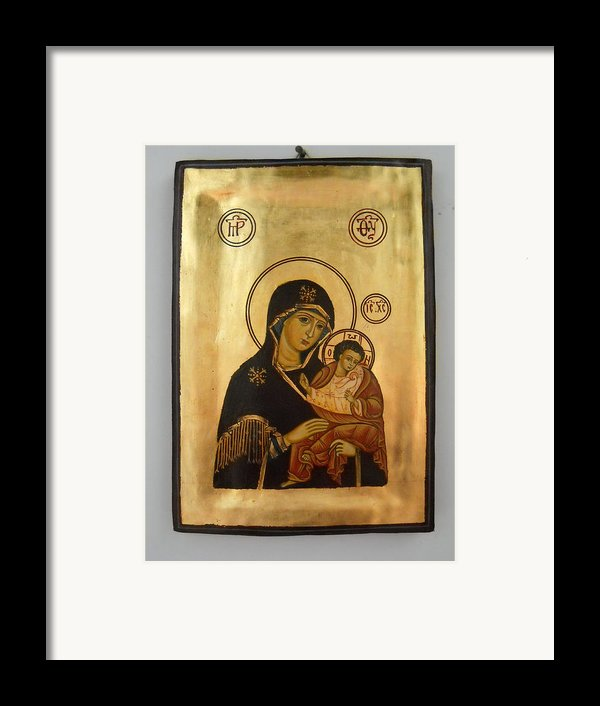 Handpainted Orthodox Holy Icon Madonna With Child Jesus Framed Print By Denise Clemenco