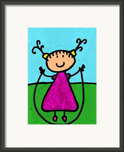 Happi Arte 7 - Girl On Jump Rope Art Framed Print By Sharon Cummings