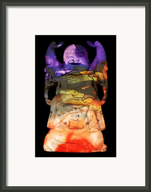 Happy Buddha 3 - Zen Art Framed Print By Sharon Cummings