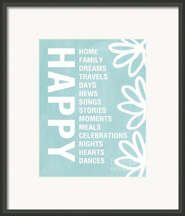 Happy Things Blue Framed Print By Linda Woods