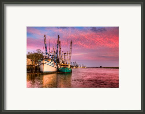 Harbor Sunset Framed Print By Debra And Dave Vanderlaan