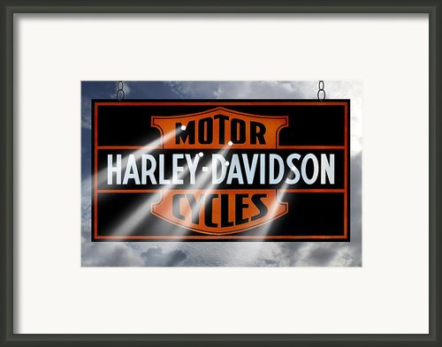 Harley Davidson Sign Framed Print By Mike Mcglothlen