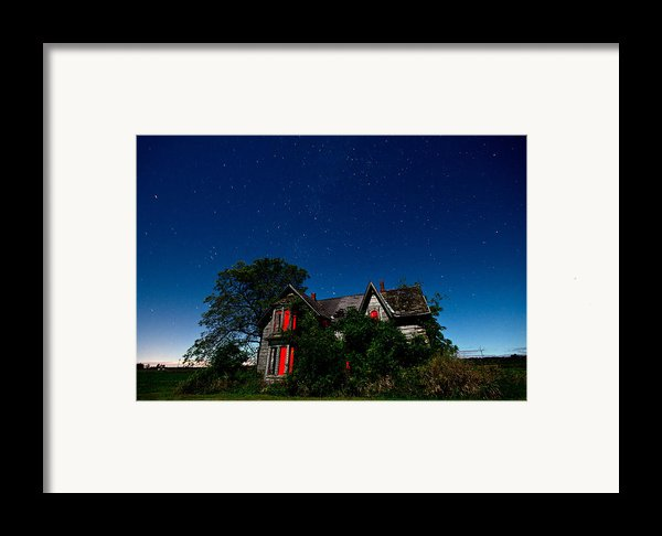 Haunted Farmhouse At Night Framed Print By Cale Best