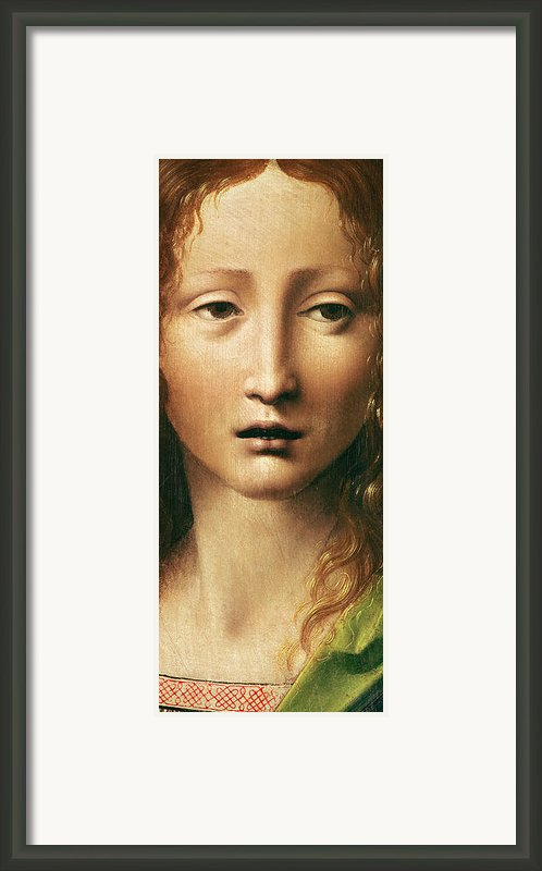 Head Of The Savior Framed Print By Leonardo Da Vinci
