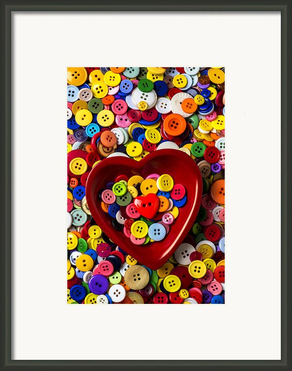 Heart Bowl With Buttons Framed Print By Garry Gay
