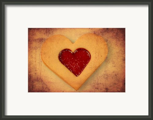 Heart Shaped Cookie With Texture Framed Print By Matthias Hauser