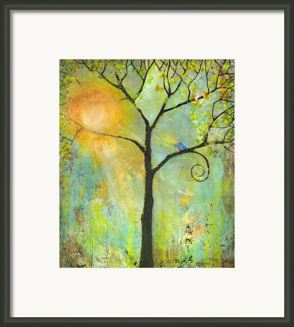 Hello Sunshine Tree Birds Sun Art Print Framed Print By Blenda Studio