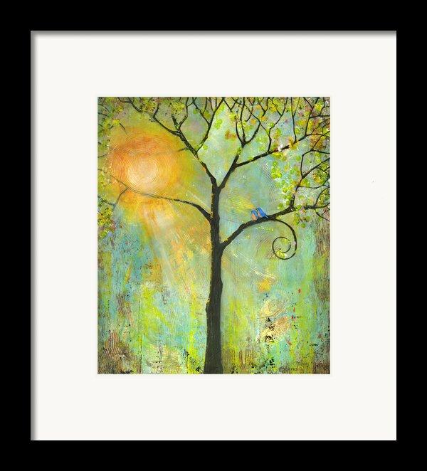 Hello Sunshine Tree Birds Sun Art Print Framed Print By Blenda Studio