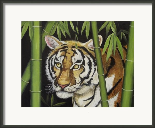 Hiding In The Bamboo Framed Print By Wanda Dansereau