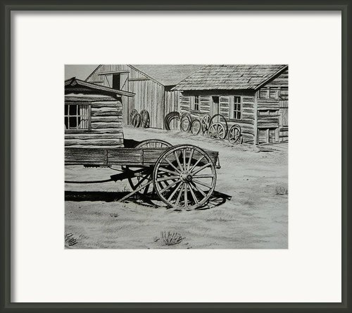 Historic Cabins Cody Wyoming Framed Print By Lucy Deane