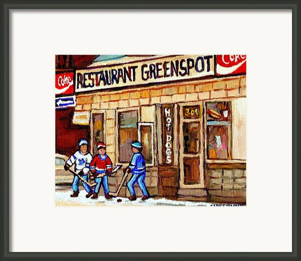 Hockey And Hotdogs At The Greenspot Diner Montreal Hockey Art Paintings Winter City Scenes Framed Print By Carole Spandau