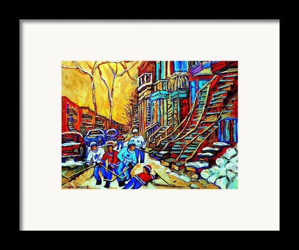 Hockey Art Montreal Winter Scene Winding Staircases Kids Playing Street Hockey Painting  Framed Print By Carole Spandau