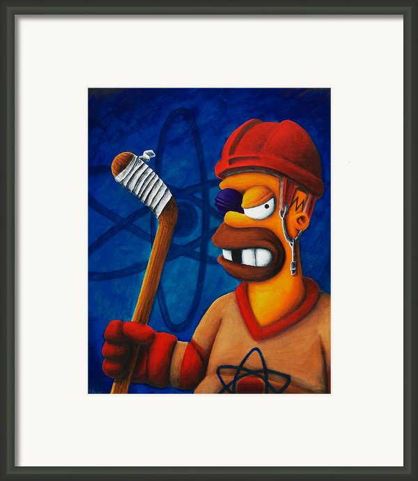 Hockey Homer Framed Print By Marlon Huynh