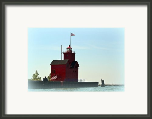 Holland Harbor Light Vignette Framed Print By Michelle Calkins