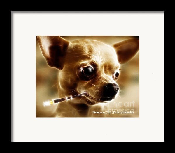 Hollywood Fifi Chika Chihuahua - Electric Art - With Text Framed Print By Wingsdomain Art And Photography