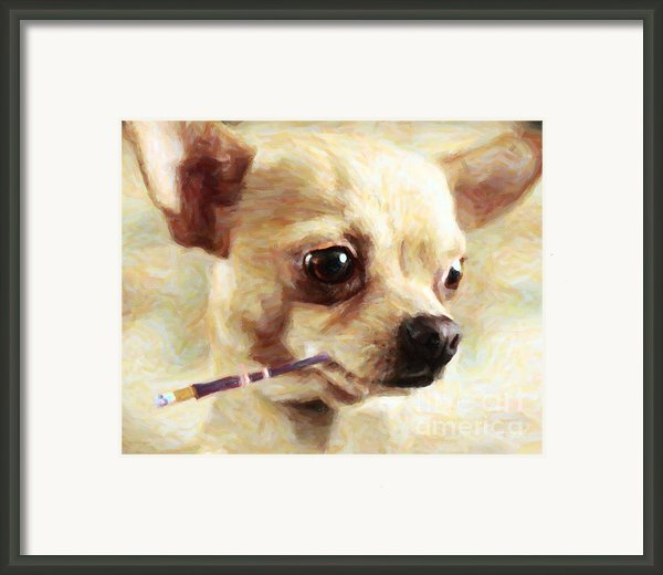 Hollywood Fifi Chika Chihuahua - Painterly Framed Print By Wingsdomain Art And Photography