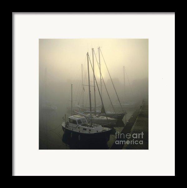 Honfleur Harbour In Fog. Calvados. Normandy Framed Print By Bernard Jaubert