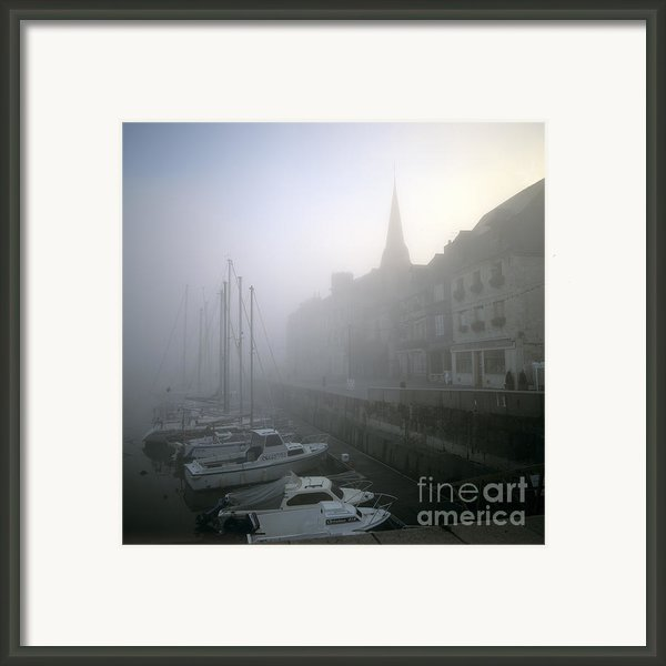 Honfleur Harbour In Fog. Calvados. Normandy. France. Europe Framed Print By Bernard Jaubert
