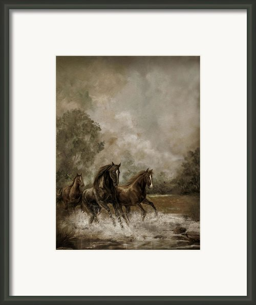Horse Painting Escaping The Storm Framed Print By Gina Femrite
