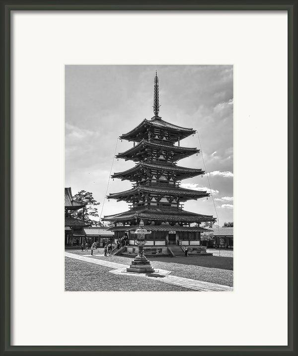 Horyu-ji Temple Pagoda B W - Nara Japan Framed Print By Daniel Hagerman
