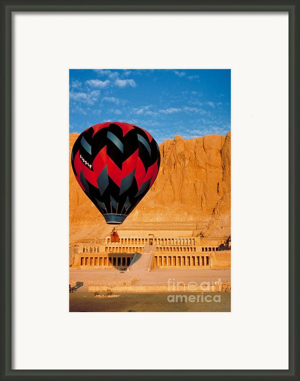 Hot Air Balloon Over Thebes Temple Framed Print By John G Ross