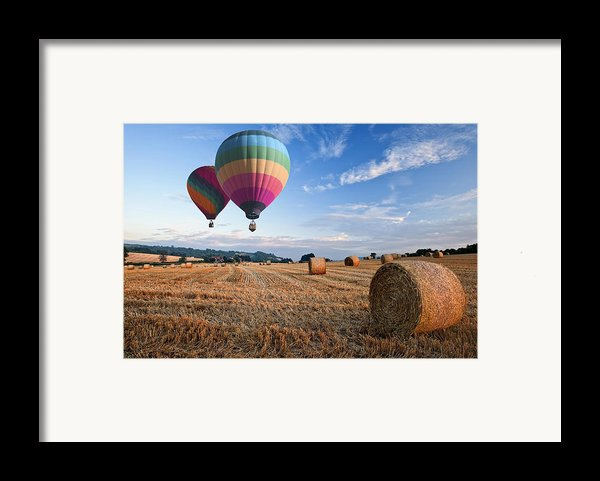 Hot Air Balloons Over Hay Bales Sunset Landscape Framed Print By Matthew Gibson