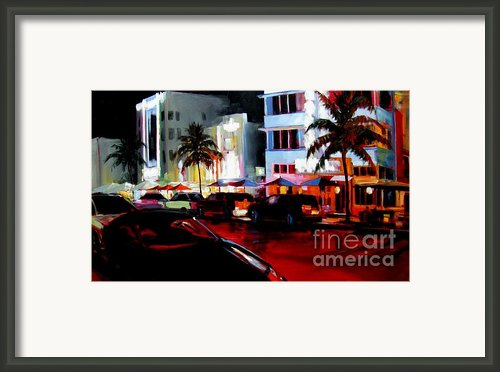 Hot Nights In South Beach - Oil Framed Print By Michael Swanson