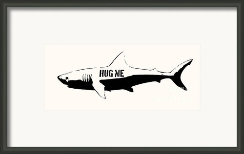Hug Me Shark - Black  Framed Print By Pixel  Chimp
