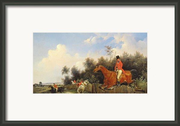 Hunting Scene Framed Print By Bernard Edouard Swebach