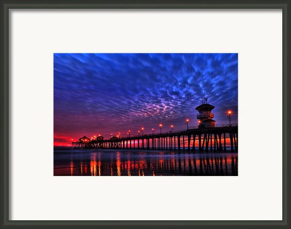 Huntington Beach Pier At Night Framed Print By Peter Dang