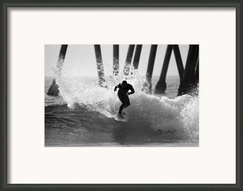 Huntington Beach Surfer Framed Print By Pierre Leclerc