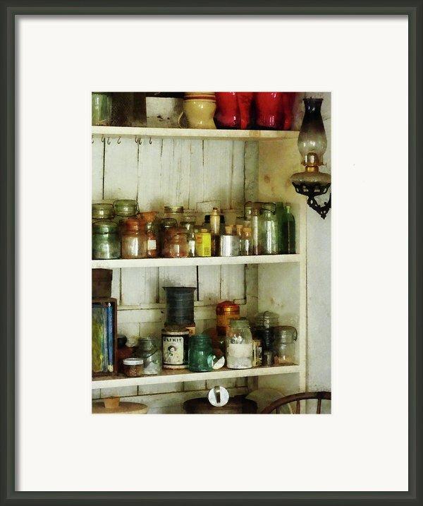 Hurricane Lamp In Pantry Framed Print By Susan Savad