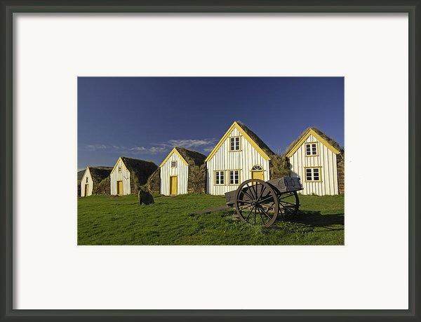 Icelandic Turf Houses Framed Print By Claudio Bacinello