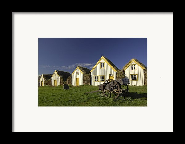 Icelandic Turf Houses Framed Print By Claudio Bacinello