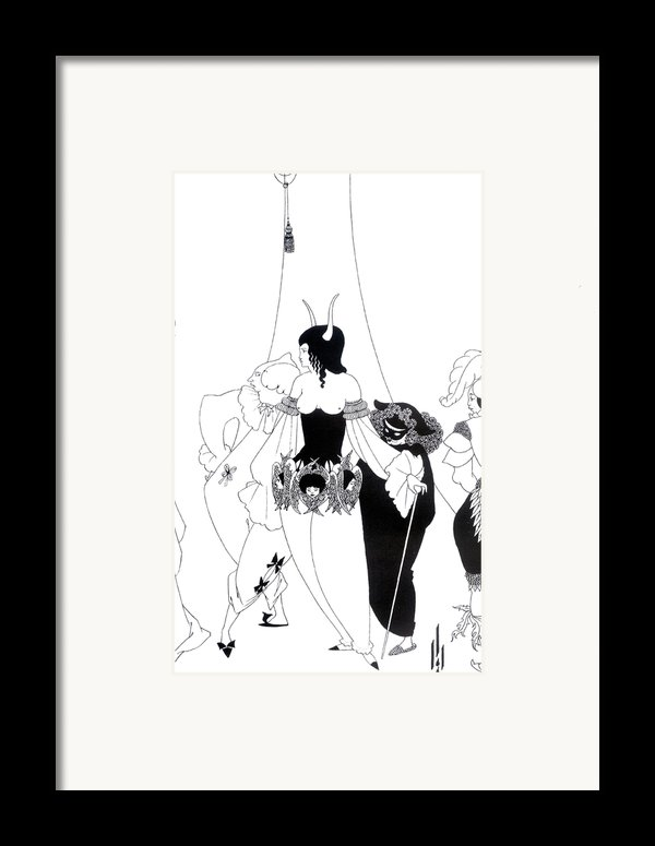 Illustration For The Masque Of The Red Death Framed Print By Aubrey Beardsley