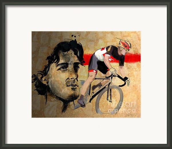 Ink Portrait Illustration Print Of Cycling Athlete Fabian Cancellara Framed Print By Sassan Filsoof