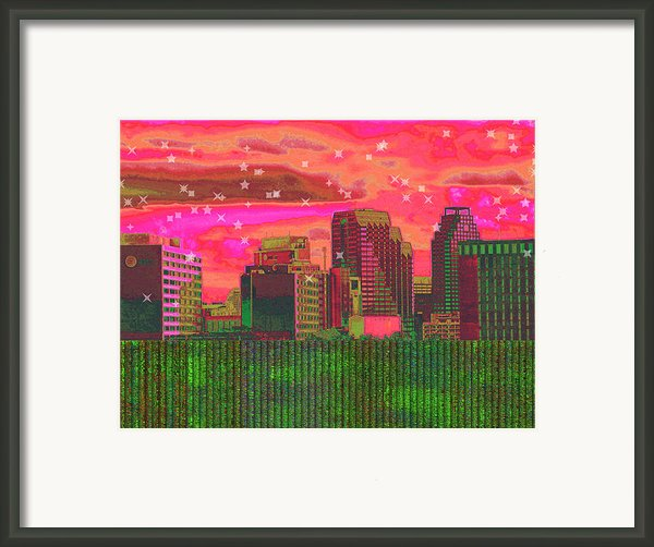 Inner City - Night Falls Framed Print By Wendy J St Christopher