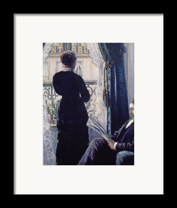 Interior Woman At The Window Framed Print By Gustave Caillebotte