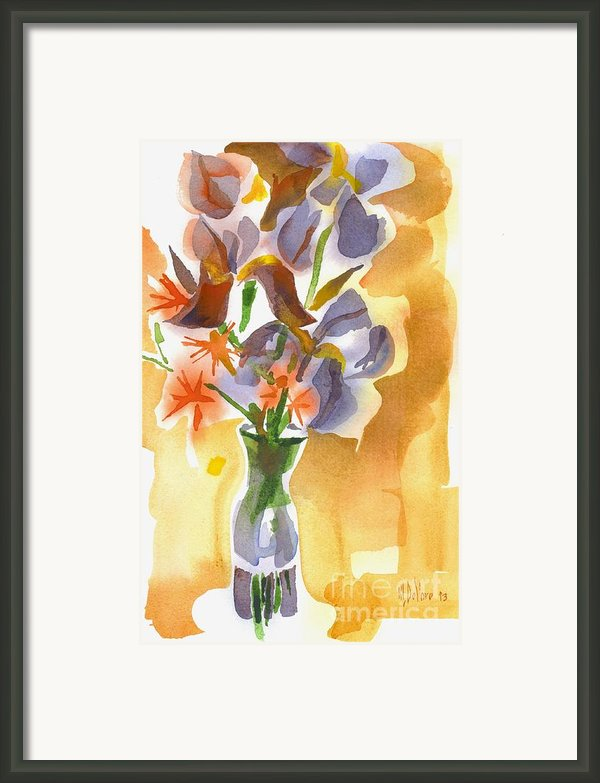 Irises With Stars Of Bethlehem Framed Print By Kip Devore