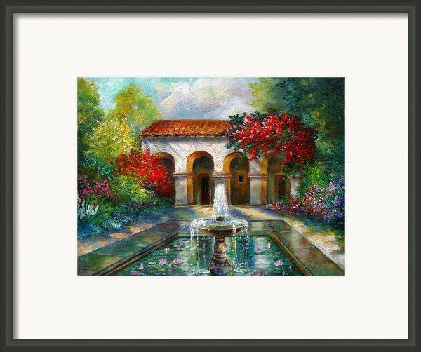 Italian Abbey Garden Scene With Fountain Framed Print By Gina Femrite