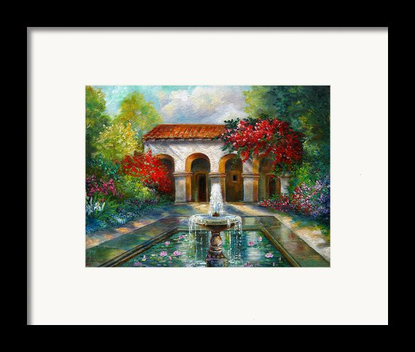 Italian Abbey Garden Scene With Fountain Framed Print By Gina Femrite