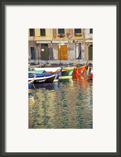 Italy Portofino Colorful Boats Of Portofino Framed Print By Anonymous