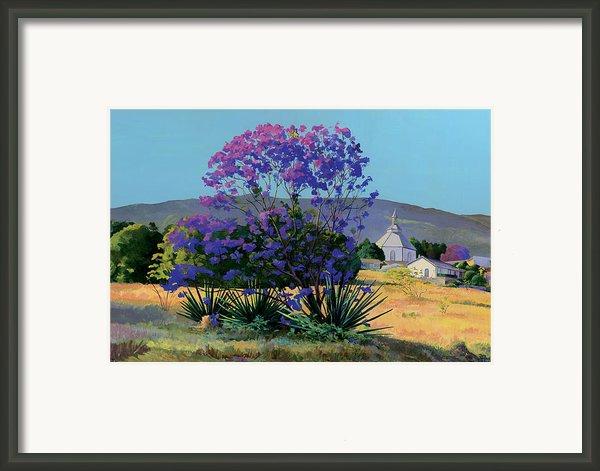 Jacaranda Holy Ghost Church In Kula Maui Hawaii Framed Print By Don Jusko