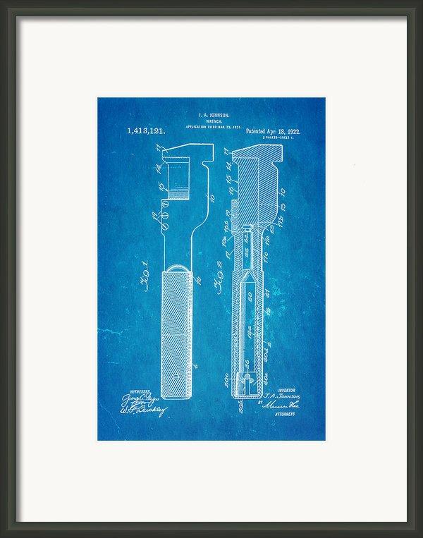Jack Johnson Wrench Patent Art 1922 Blueprint Framed Print By Ian Monk