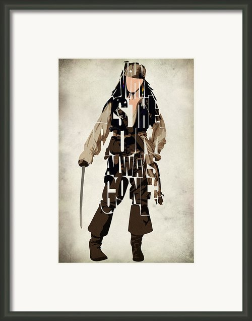 Jack Sparrow Inspired Pirates Of The Caribbean Typographic Poster Framed Print By Ayse T Werner