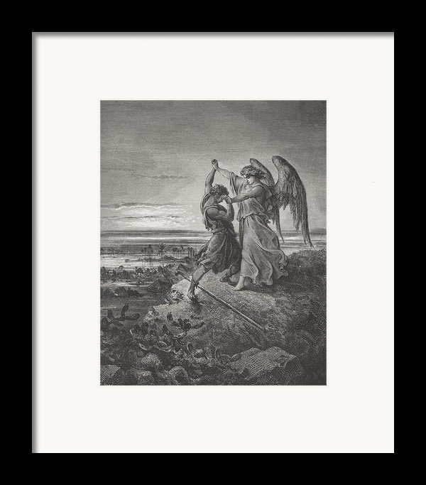 Jacob Wrestling With The Angel Framed Print By Gustave Dore