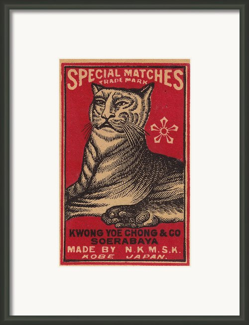 Japanese Matchbox Label With Tiger Framed Print By Nop Briex