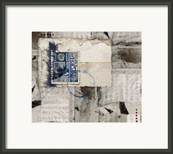 Japanese Postage 20 Sen Framed Print By Carol Leigh